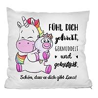 Personello® personalisiertes Einhorn Kissen (mit Name und Spruch gestalten), Einhorn Geschenk für die beste Freundin, Schwester oder Tochter, 40 x 40