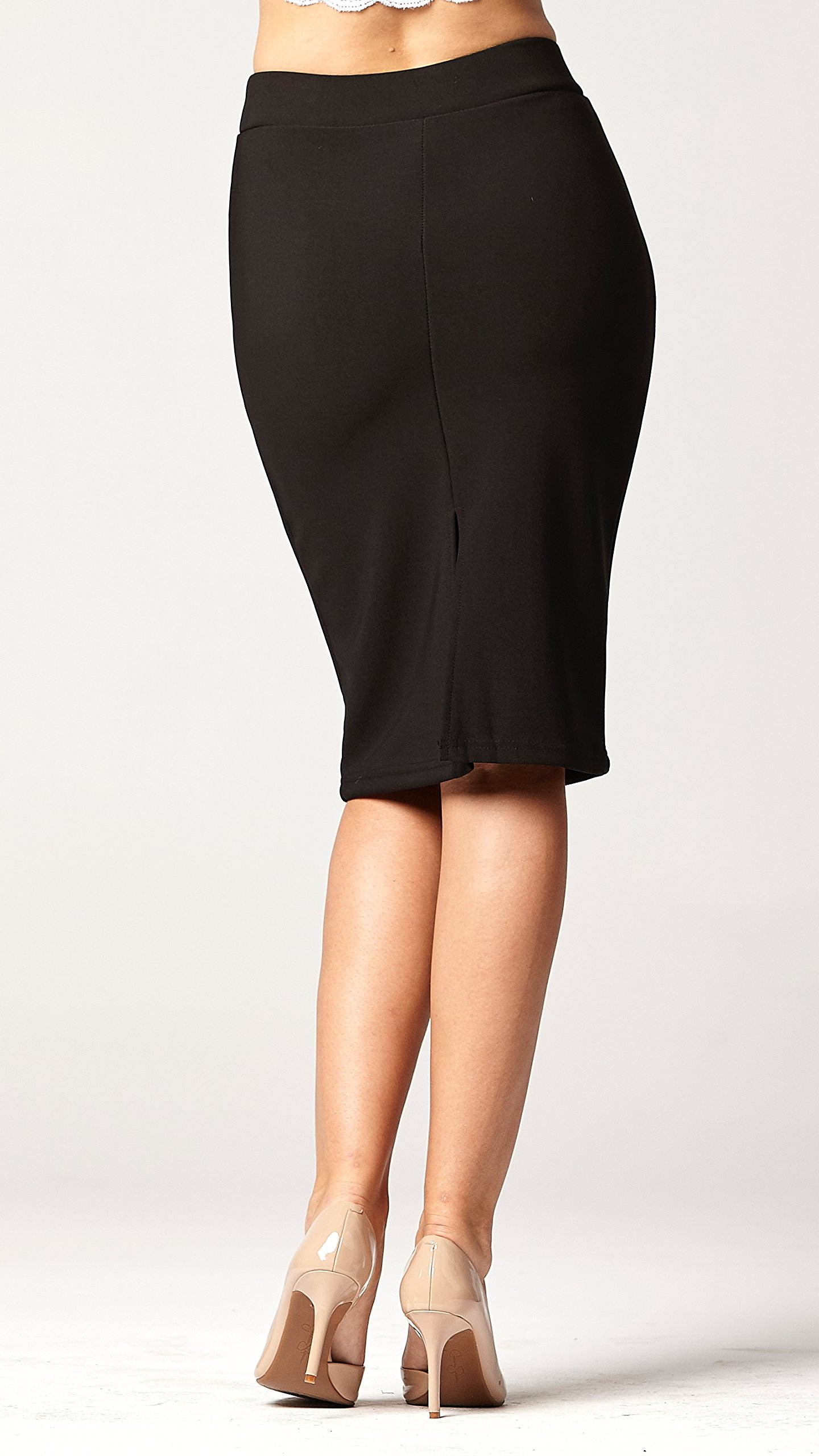 Conceited Premium Stretch Pencil Skirt - 10 Colors - by (Small, Black) by Conceited (Image #5)