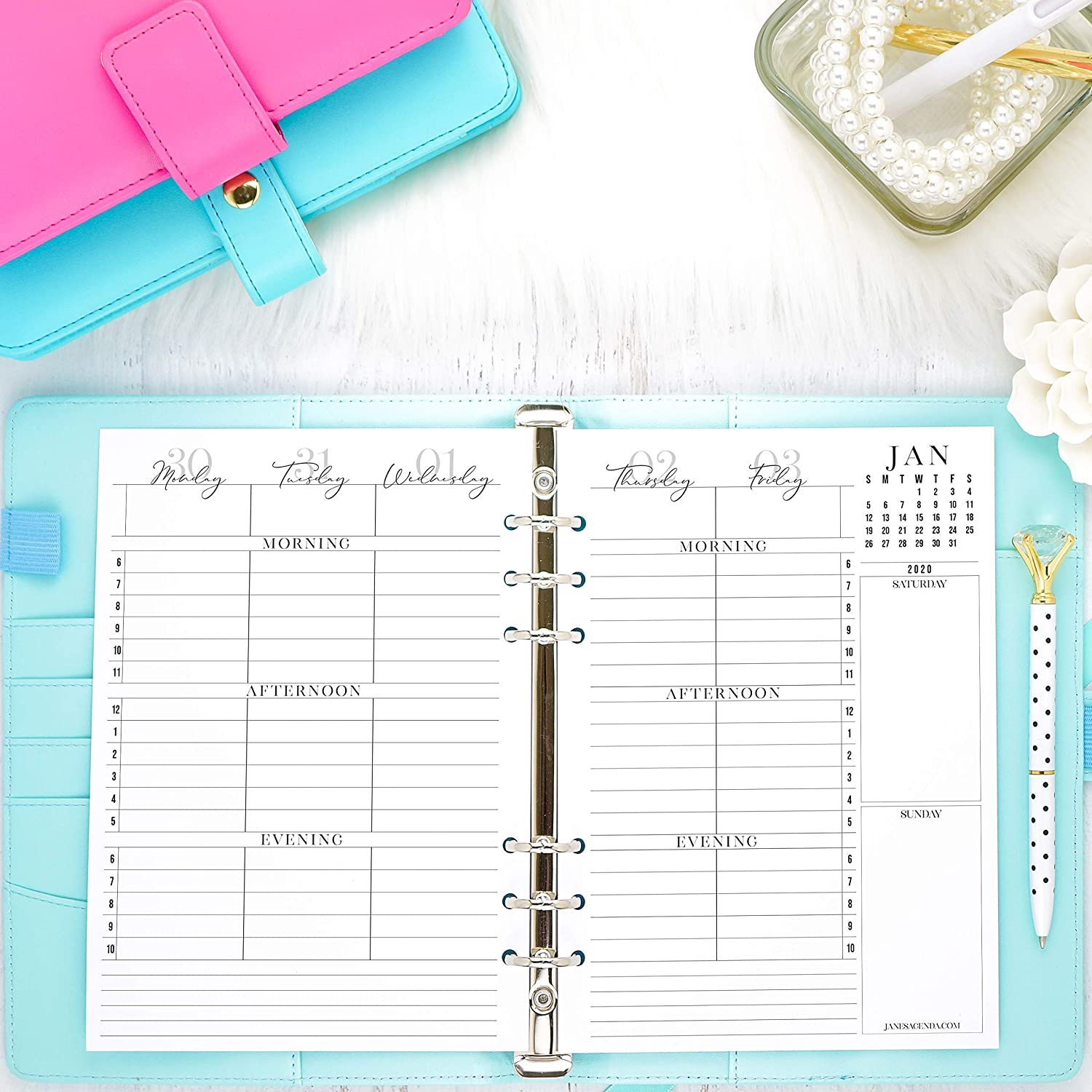 2020 and remainder 2019 Dated Weekly Hourly Planner Inserts | Refill A5 Six Ring Planner Systems | 5.83x8.27 inch pages