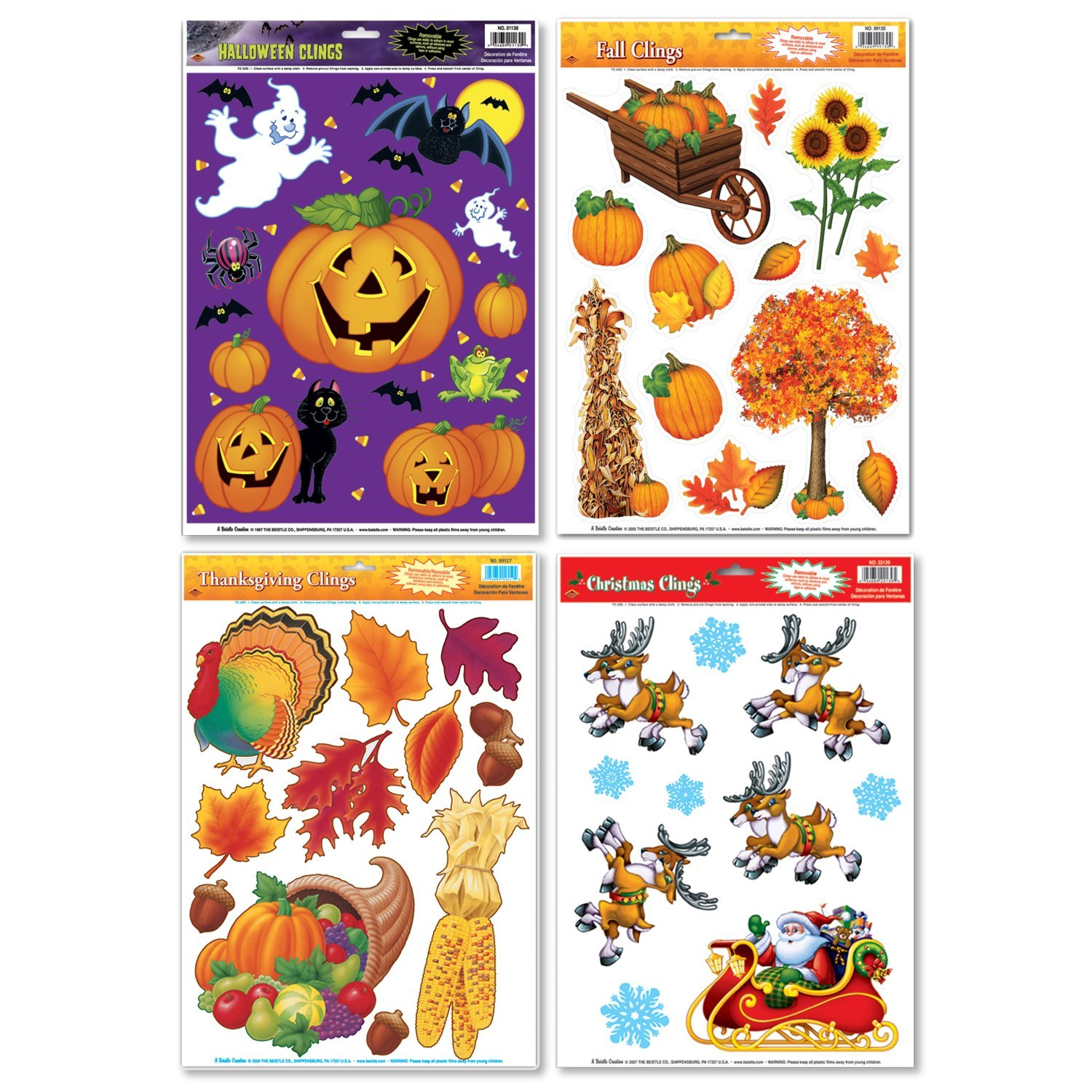 FAKKOS Design Fall/Winter Holiday Window Cling Decorations - Halloween, Thanksgiving, Christmas - 4 Large Sheet Sets