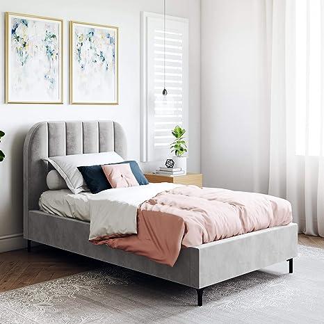 Amazon Com Dhp Camilla Upholstered Gray Velvet Twin Bed Furniture Decor