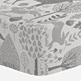 Carousel Designs Gray Woodland Animals Crib Sheet - Organic 100% Cotton Fitted Crib Sheet - Made in the USA