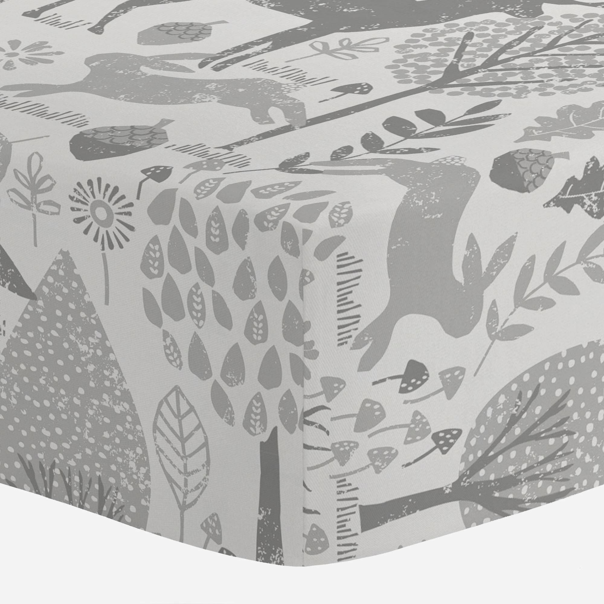 Carousel Designs Gray Woodland Animals Crib Sheet - Organic 100% Cotton Fitted Crib Sheet - Made in The USA by Carousel Designs
