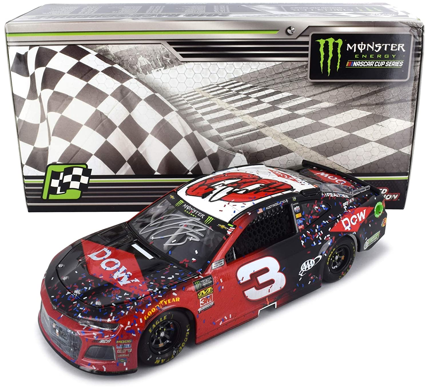 Lionel dual autographed austin dillon richard childress 2018 daytona 500 win raced version diecast car 124 hand signed with a certificate of authenticity