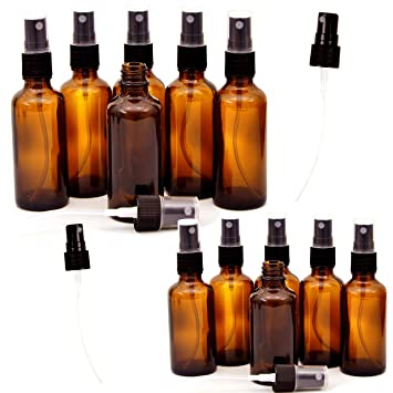 bbba68cc1867 12 Pack Empty Amber Glass Spray Bottles, 6 Pack 4oz and 6 Pack 2oz  Refillable Containers for Essential...