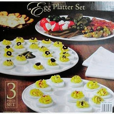 classic ceramic egg platter set 3pc white deviled
