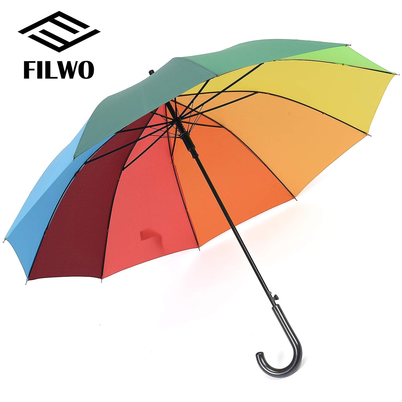 30ff2eb9d8d36 FILWO Rainbow Compact Rain Umbrella, Hook Handle Colorful Golf Umbrella  Auto Open Close Large Stick Windproof Rain Umbrella UV Protection Rainbow  Golf ...