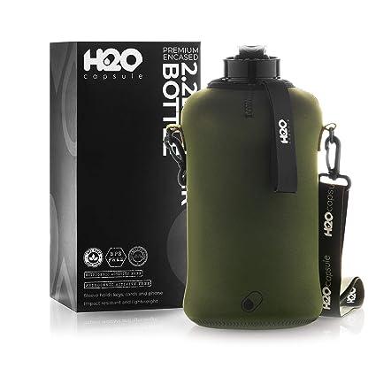 Amazon.com: H2O Capsule Botella de agua de 2,2 l con funda ...