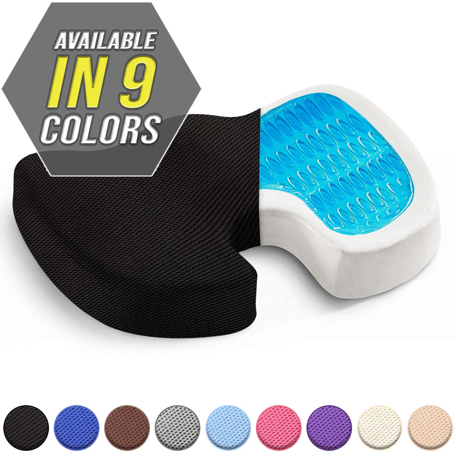 Seat Cushion w/Gel - Car Seat Butt Pillow, Hip Support for Office Chair and Wheelchair