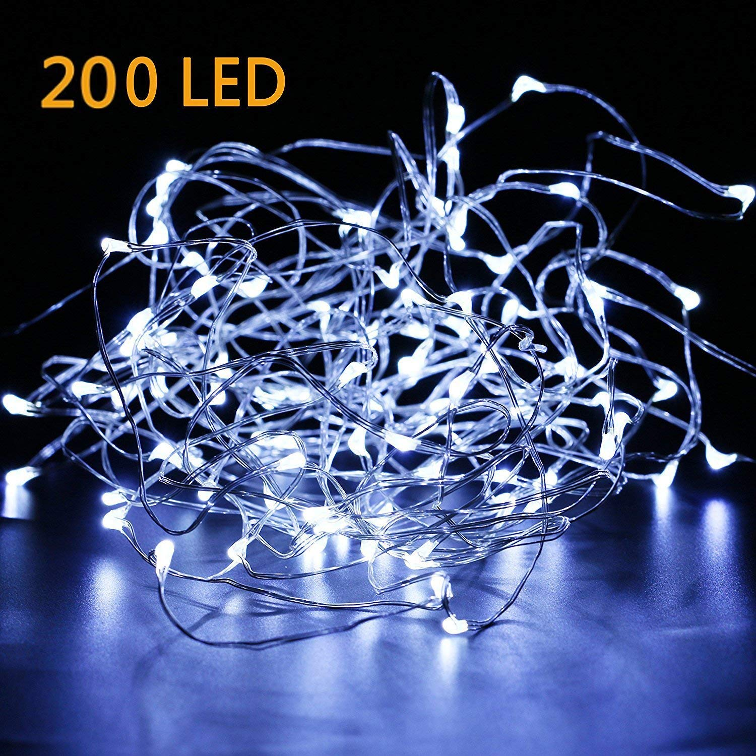 200 LED Fairy Lights Plug in 70FT Starry String Lights Waterproof Silver Coated Copper Wire Lights - UL Adaptor Included, for Indoor Outdoor Christmas Bedroom Patio Wedding Garden Pure White