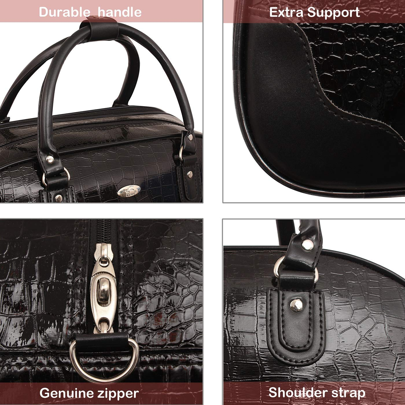387934ec61 kézitáska Women s Synthetic Top Handle Travel Duffle Bag (Black)   Amazon.in  Bags