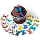 Assorted Rainbow Color Wafer Paper Butterflies Small 1 Inch for Decorating Desserts Cupcakes Wedding Cakes Pack of 24