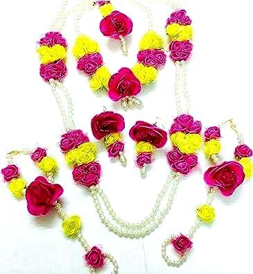 Amazon Floret Jewellery Pearl Pink Yellow Flower Jewellery Set