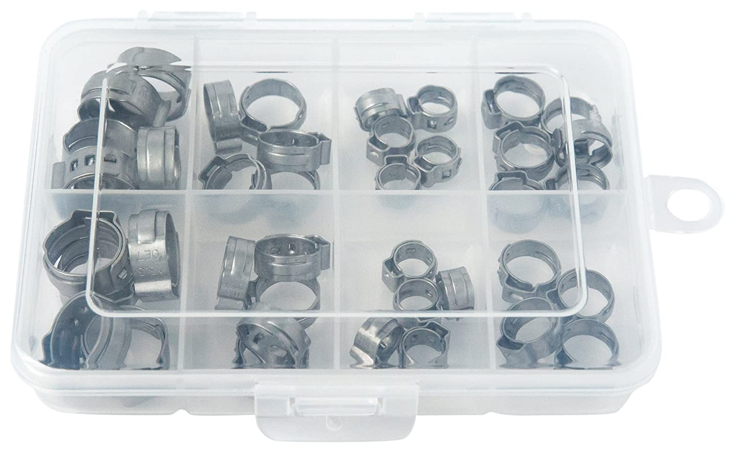 Single Ear Hose Clamps with Pincers Oetiker Stepless OET070170-300PCK-EP Clamp Assortment Case 1//4-11//16