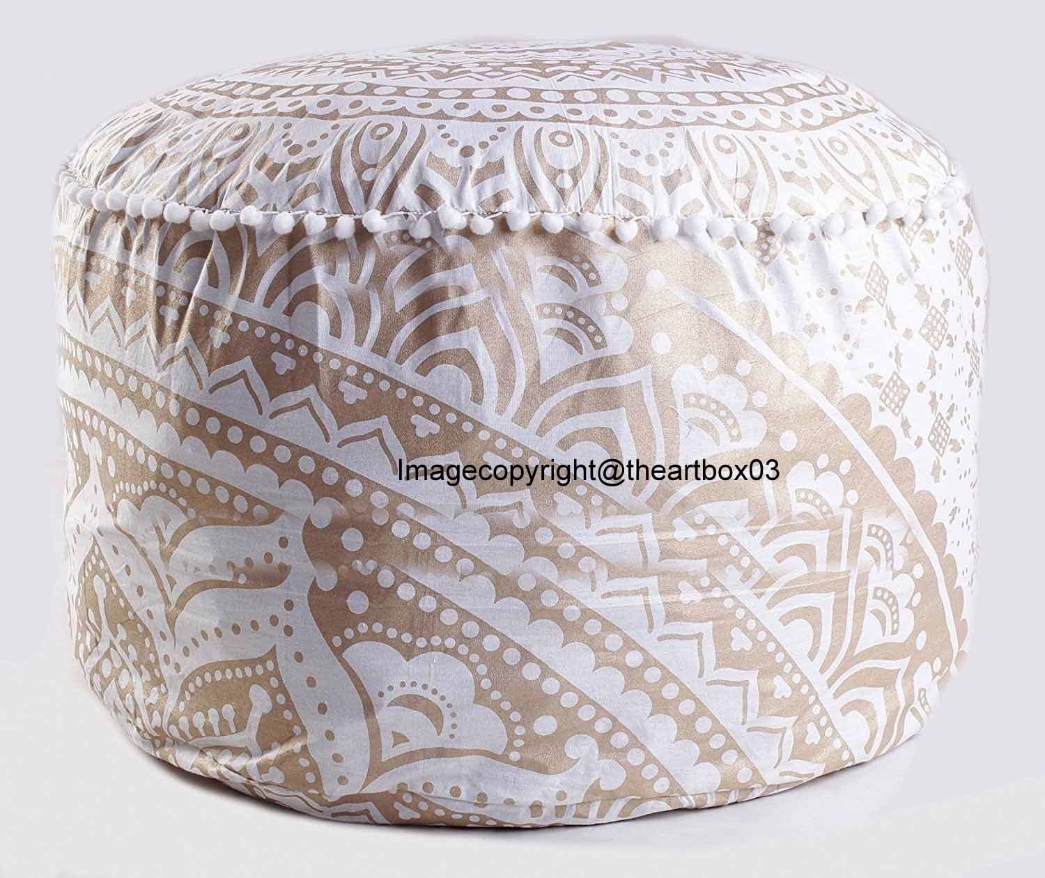 Golden Ombre Mandala Round Seating Pouf Cover, Ottoman Furniture, Storage Ottoman, Living Room Ottoman, Indian Foot Stool Decor 14 x 22