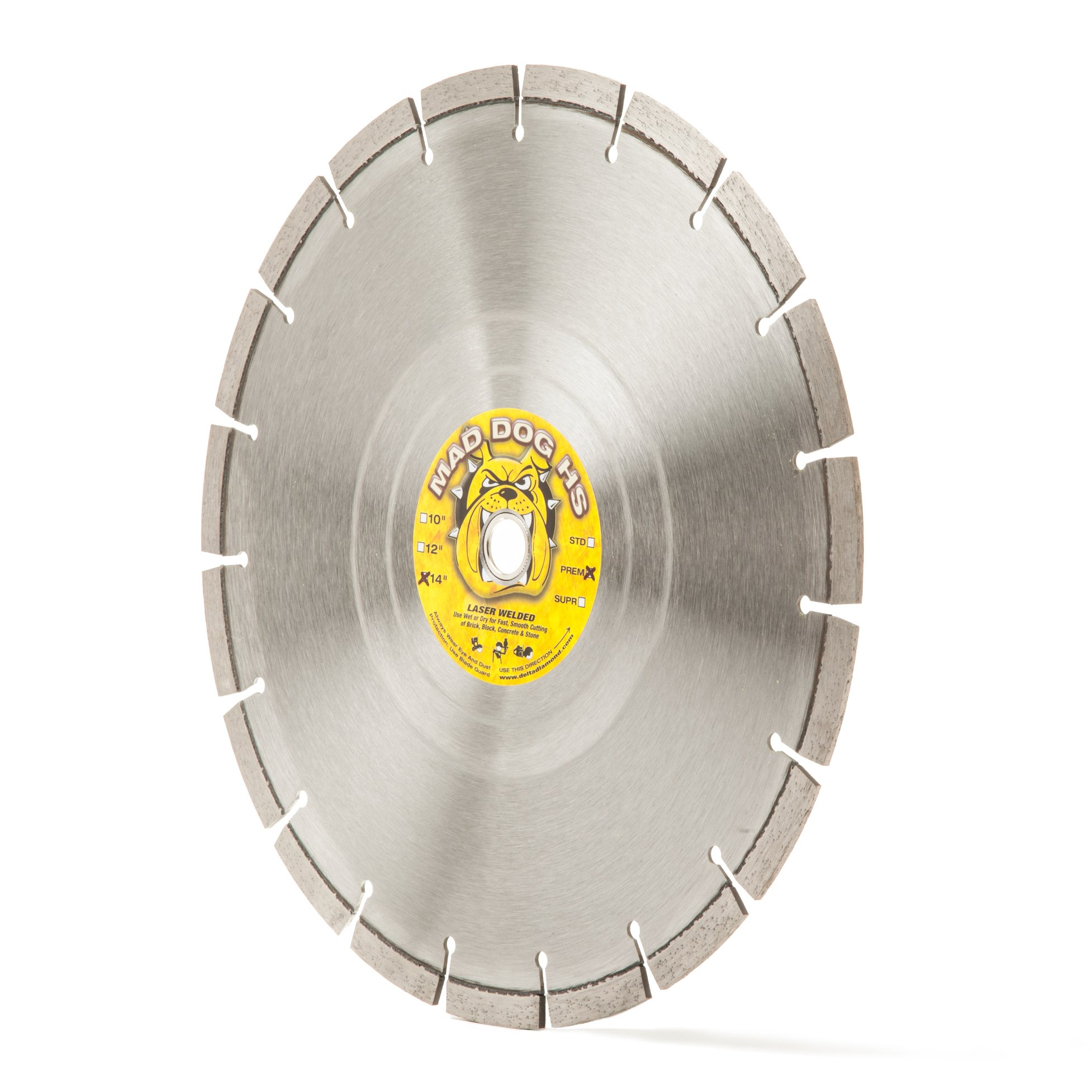 Mad Dog HS 14-Inch Laser-Welded Wet/Dry Masonry & Concrete Diamond Blade, 14'' X .125 X 1''-20MM Bushing. Made in USA. (14-Inch)