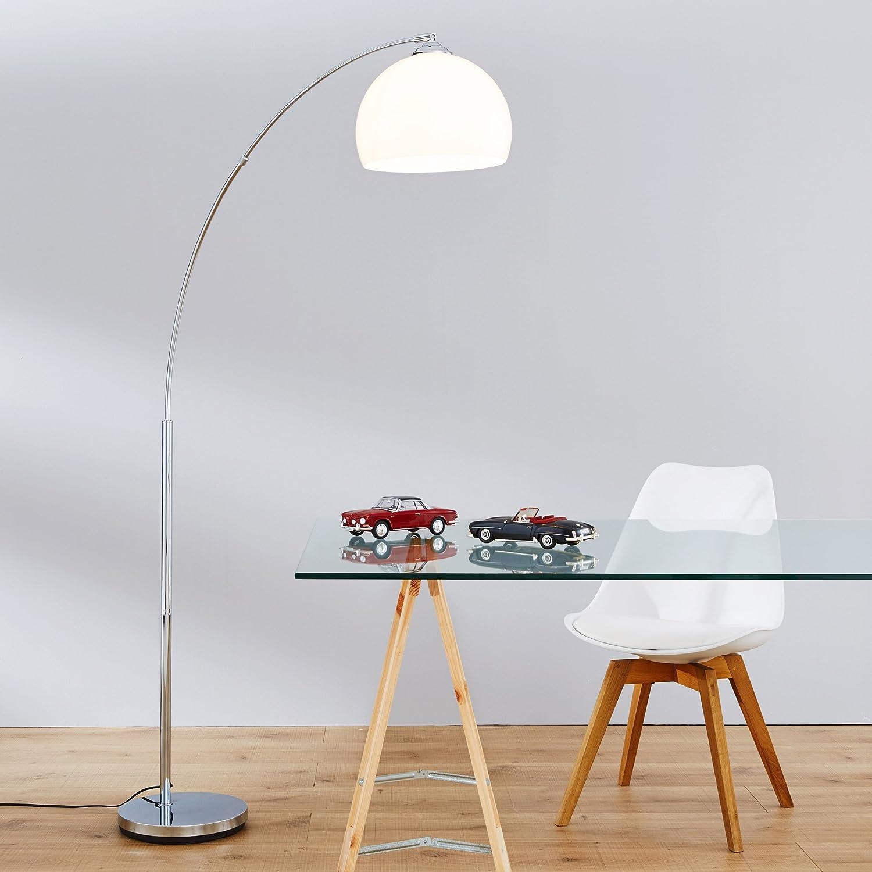 Lámpara curvada Lightbox, acabado cromado, con pantalla de plástico, 166 cm de alto, para una bombilla de E27 máx.