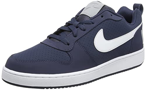 ec85fa38cd4 Nike Men s Court Borough Low ThunderBlue wht-WolfGrey Leather Sneakers-8 UK