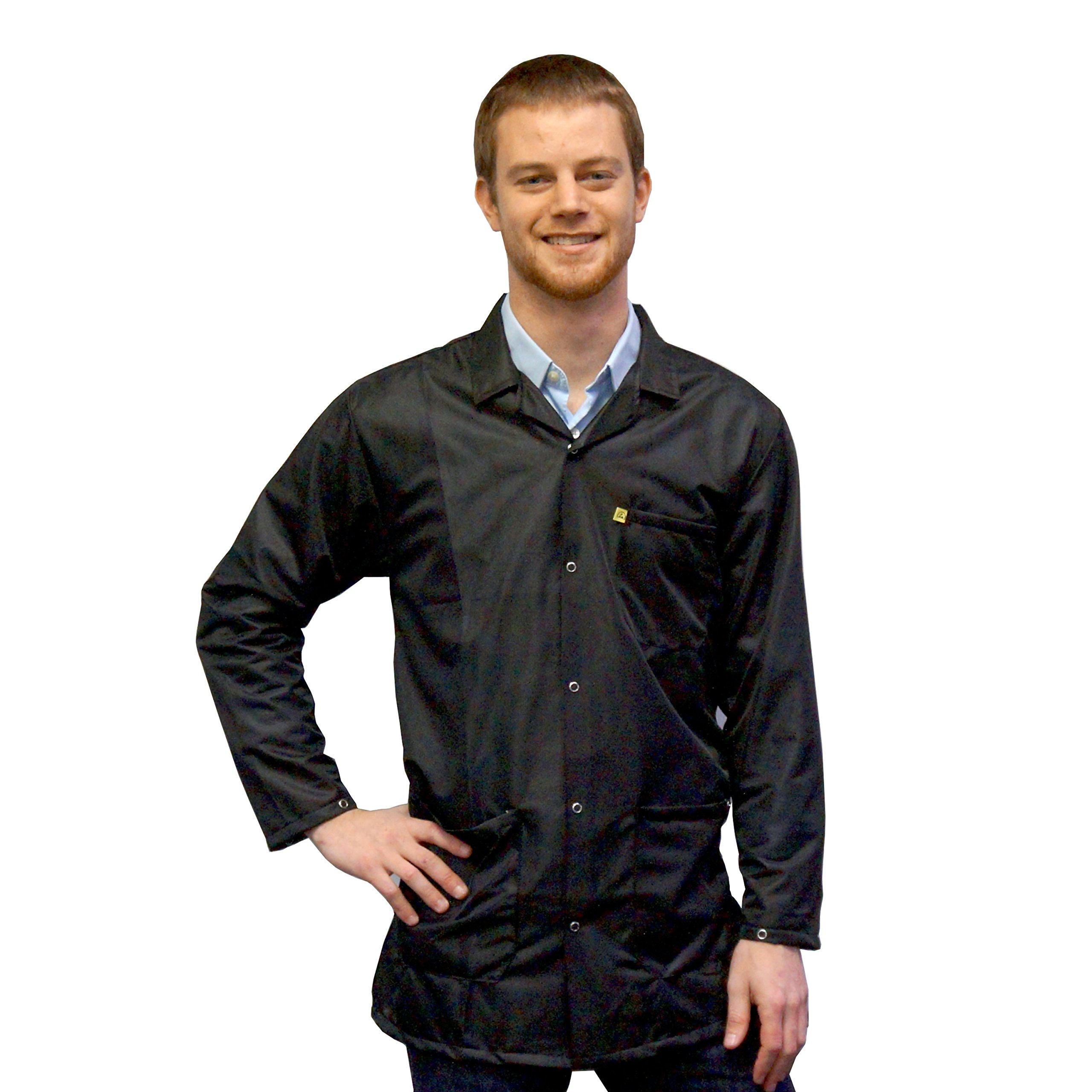 StaticTek 9010 Black Fabric ESD Safe Snap Cuffs Collar Jacket-Certified Level 3 Static Shielding Lab Coat and ESD Smock Jackets for Anti-Static Work Places,Small