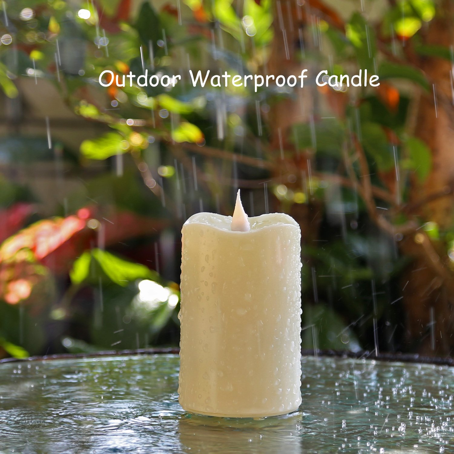 Outdoor Waterproof Moving Flame Led Candle with Timer and Remote Control for Outdoor Decoration, Ivory, 3×4 Inch