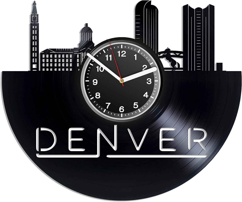 Kovides Unique Decal Decor for House Denver LP Clock Denver City in Colorado Vintage Record Clock 12 Inch Denver USA City Gift Birthday Gift Idea for Traveler Handmade Gift Idea for Brother