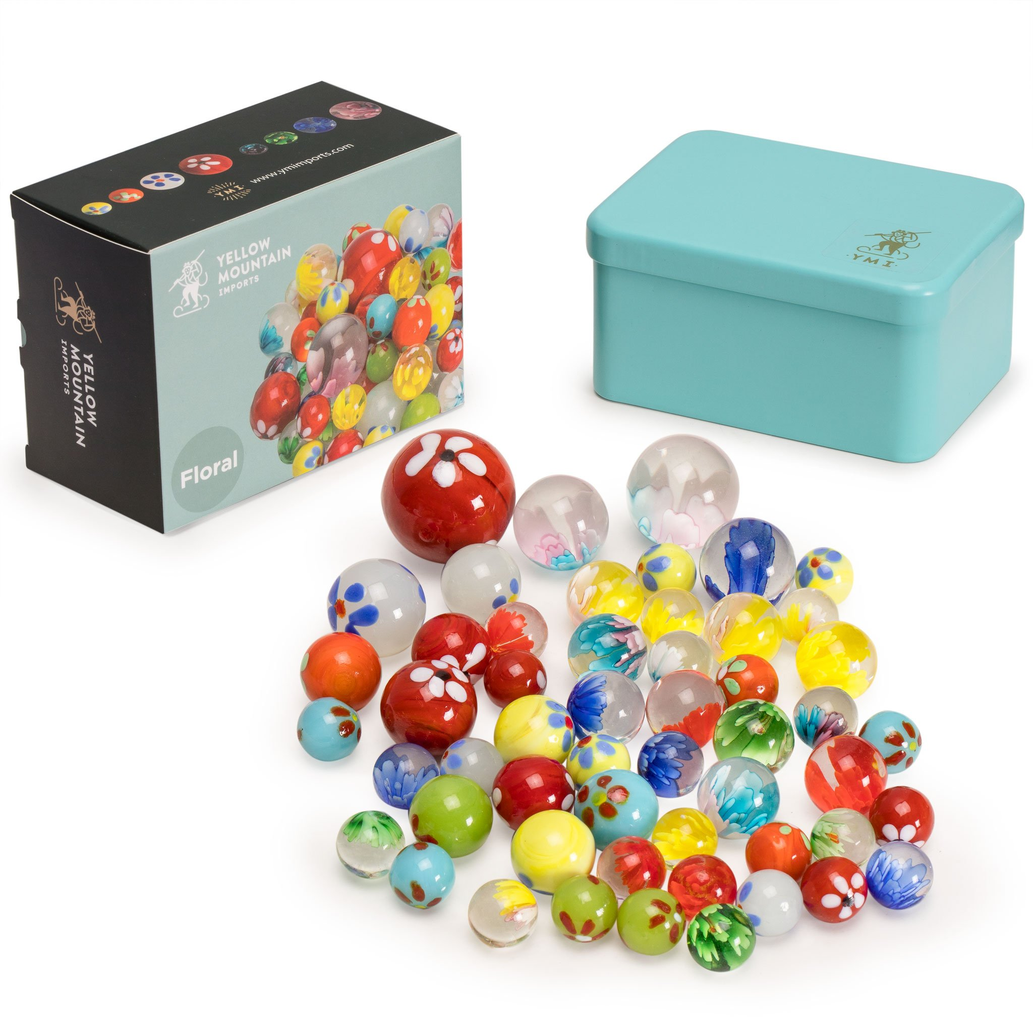 "Yellow Mountain Imports Marbles Set in Tin Box, ""Floral"""
