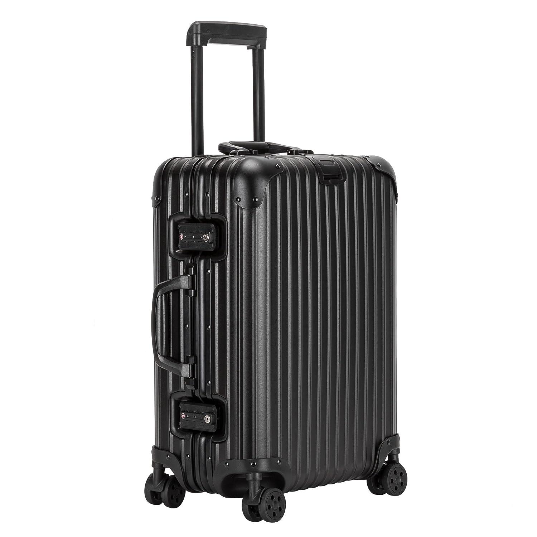 クロース(Kroeus) スーツケース アルミマグネシウム合金 TSAロック 大型8輪キャスター 無段階キャリーバー キャリーケース 大容量 人気 旅 出張 B07BJH1HBV L(4~7泊、74L)|ブラック ブラック L(4~7泊、74L)