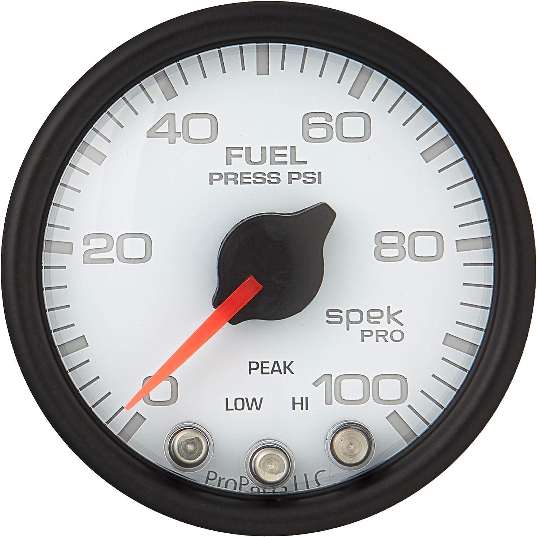 Wht//Blk Stepper Motor W//Peak /& Warn 2 1//16 Spek-Pro 2 1//16 Auto Meter P31412 Gauge Fuel Press 100Psi