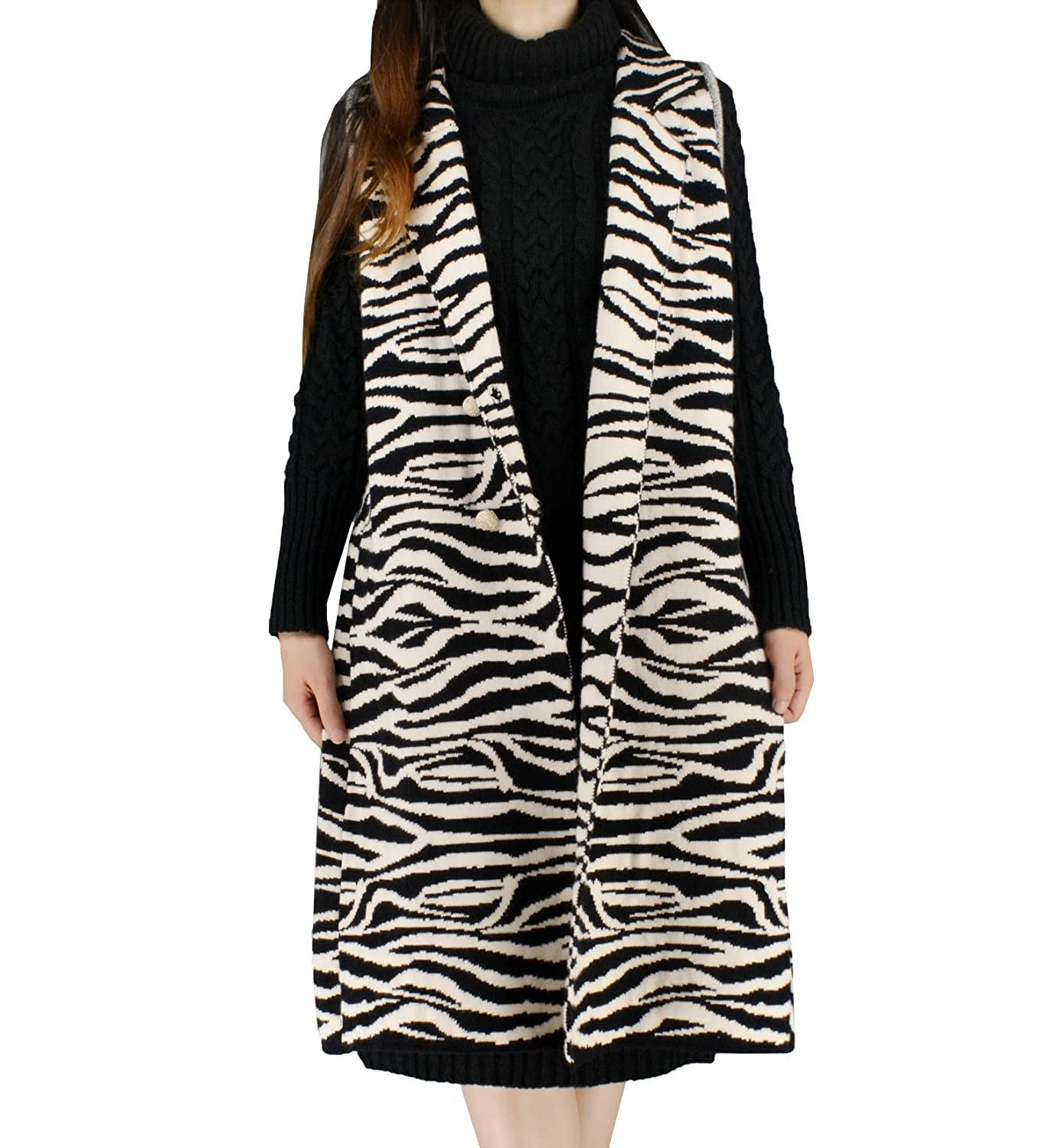 YSJ Women's Long V-Neck Knit Sweater Vest Zebra Print Loose Vests Black) H-7