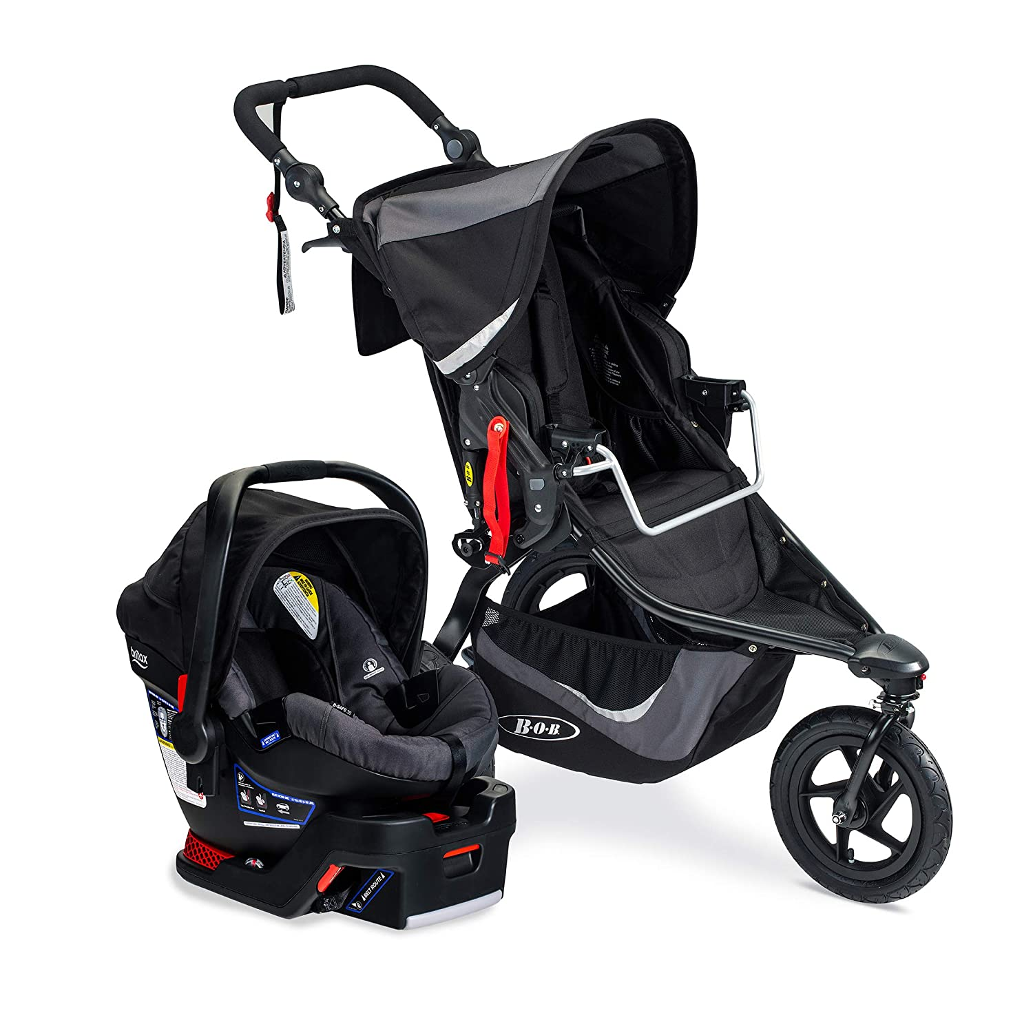 BOB Gear Revolution Flex 3.0 Travel System with Britax B-Safe 35 Infant Car Seat – Birth to 75 pounds, Graphite Black