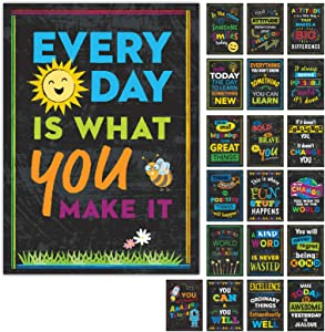 10 Extra Large Motivational Posters Classroom, Office Decorations and Home. Educational, Inspirational Wall Decor 24 x 17 Inch Double Sided (Set of 10 Posters)