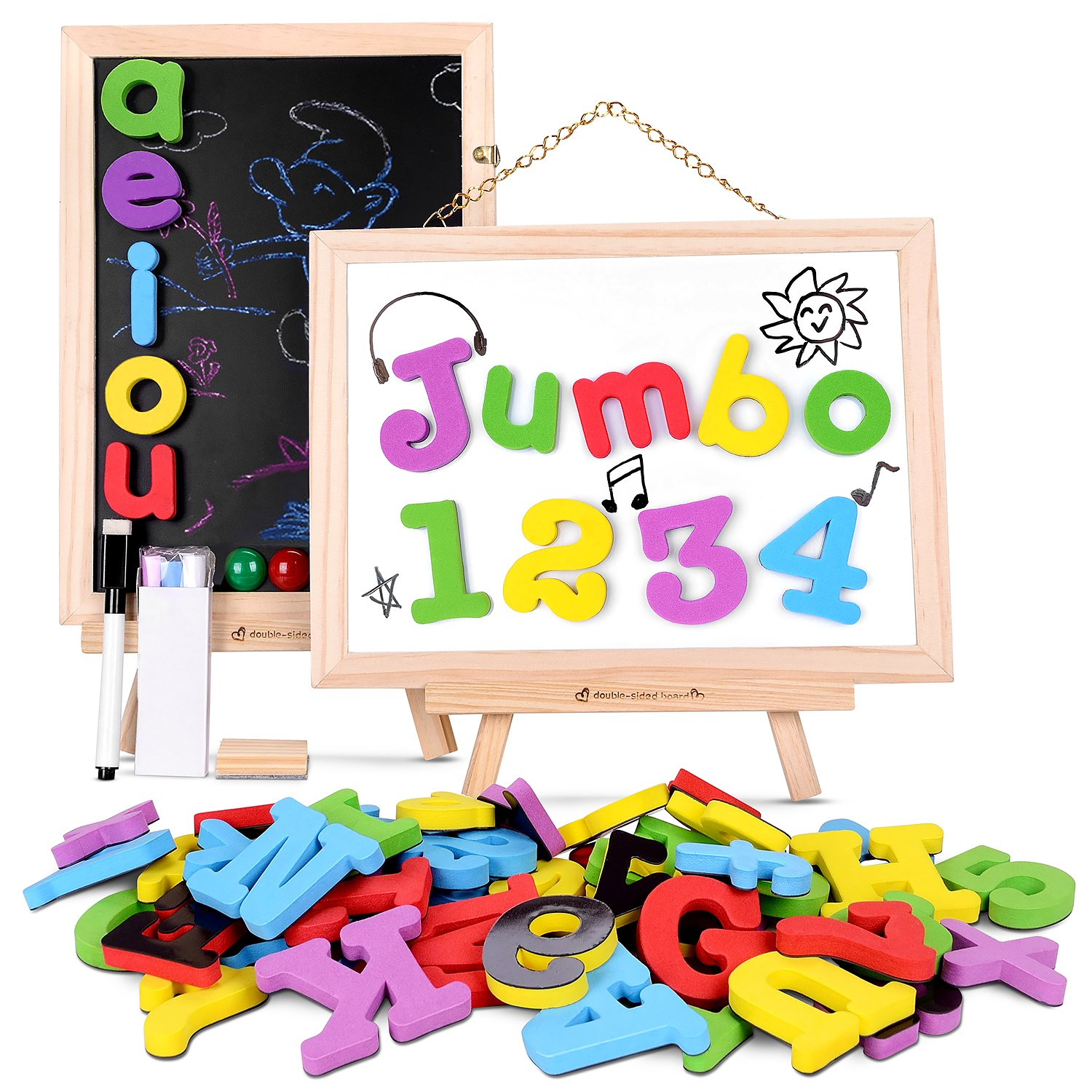 JOYNOTE Magnetic Letters and Numbers Jumbo Thick Double Sided Wooden Board,Educational Fridge ABC Magnets Alphabet for Kids Learning,Spelling and Drawing (119 Pieces and Storage Bag Included)