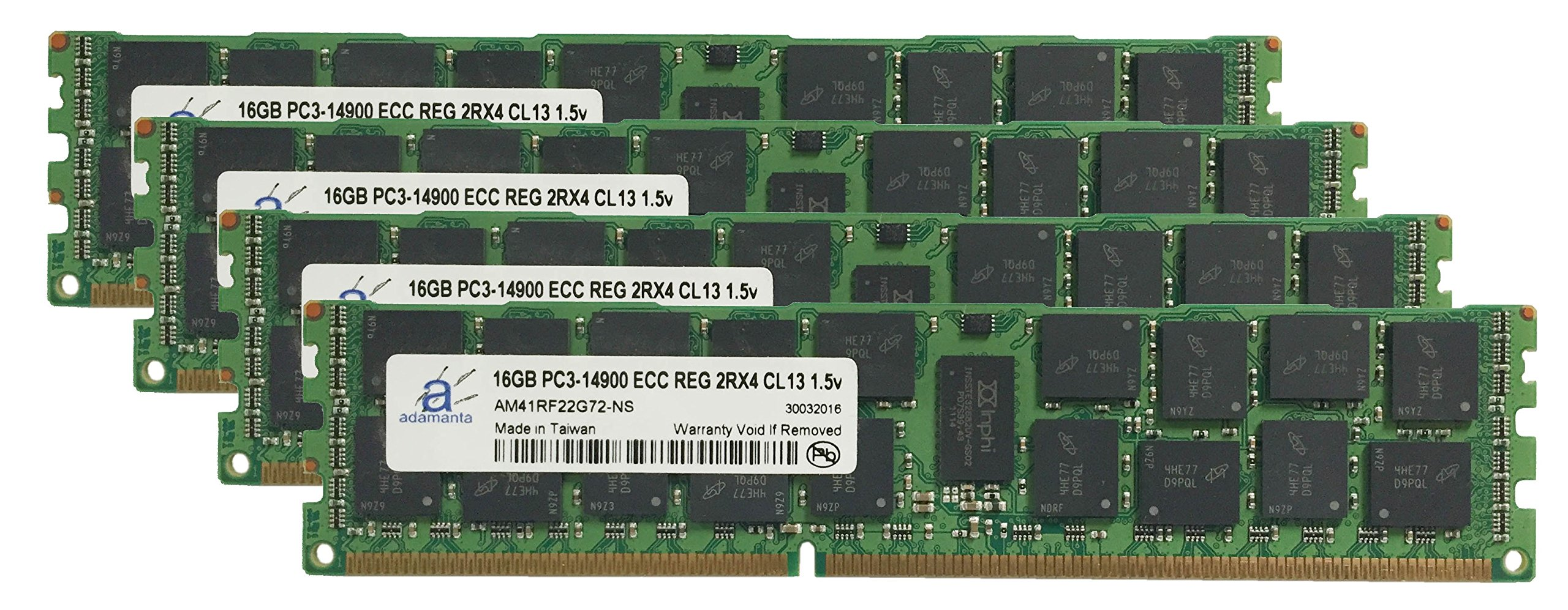 Adamanta 64GB (4x16GB) Server Memory Upgrade for Dell PowerEdge T620 DDR3 1866Mhz PC3-14900 ECC Registered 2Rx4 CL13 1.5v
