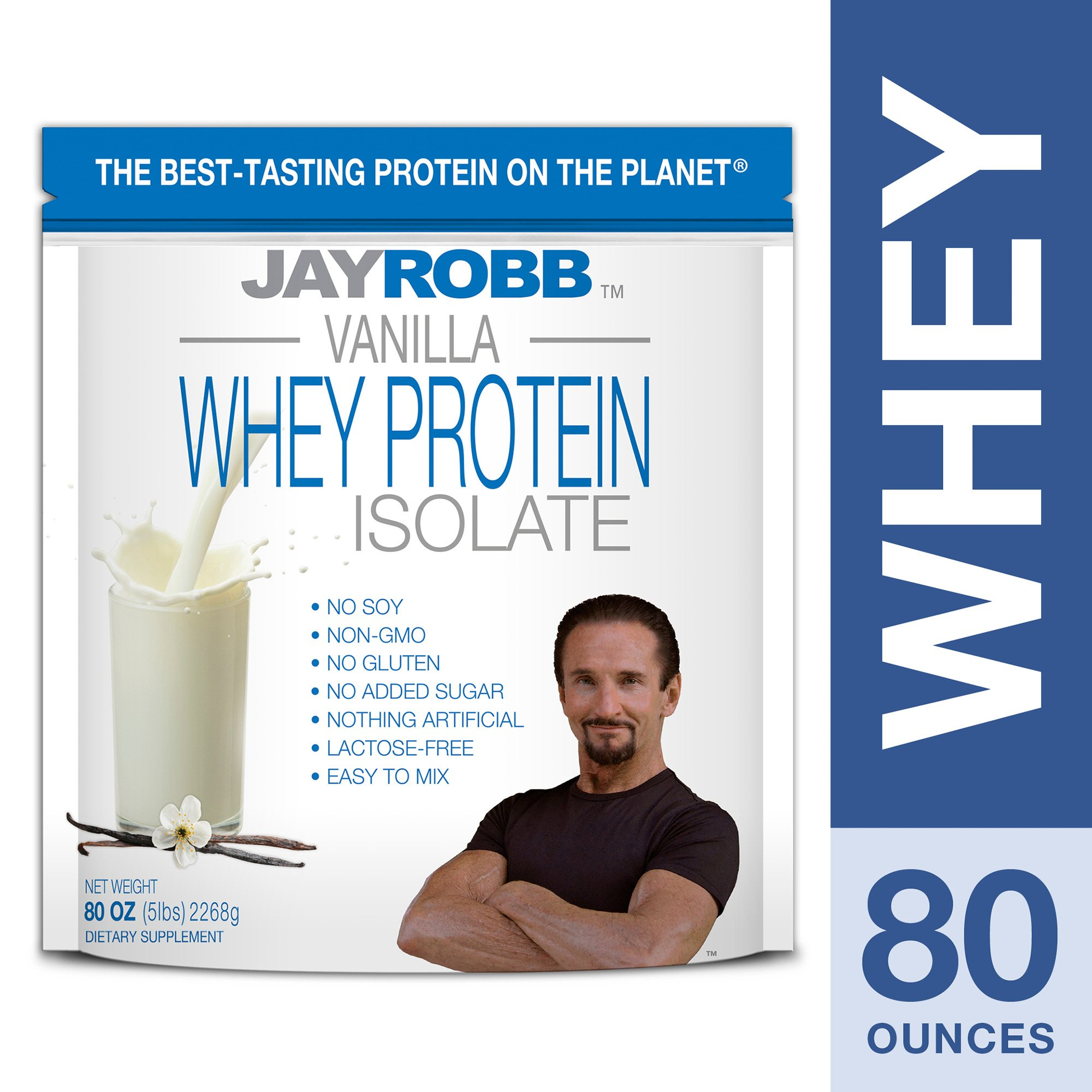 Jay Robb - Grass-Fed Whey Protein Isolate Powder, Outrageously Delicious, Vanilla, 76 Servings (80 oz) by Jay Robb