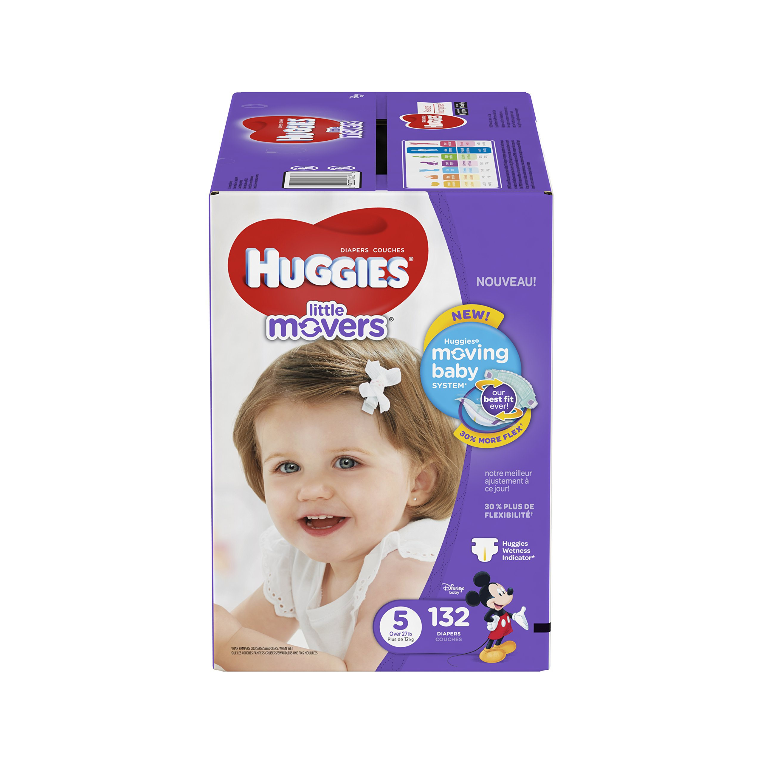 HUGGIES Little Movers Diapers, Size 5, 132 Count (Packaging May Vary)