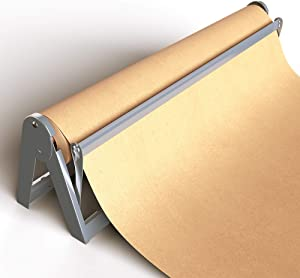 "Paper Roll Dispenser and Cutter - Long 24"" Roll Paper Holder - Great Butcher Paper Dispenser, Wrapping Paper Cutter, Craft Paper Holder or Vinyl Roll Holder - Wall Mountable"