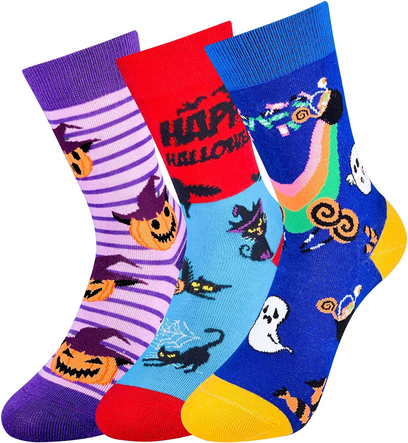 3 Pack Kids Halloween Novelty Socks Pumpkins for Costume Party Decoration
