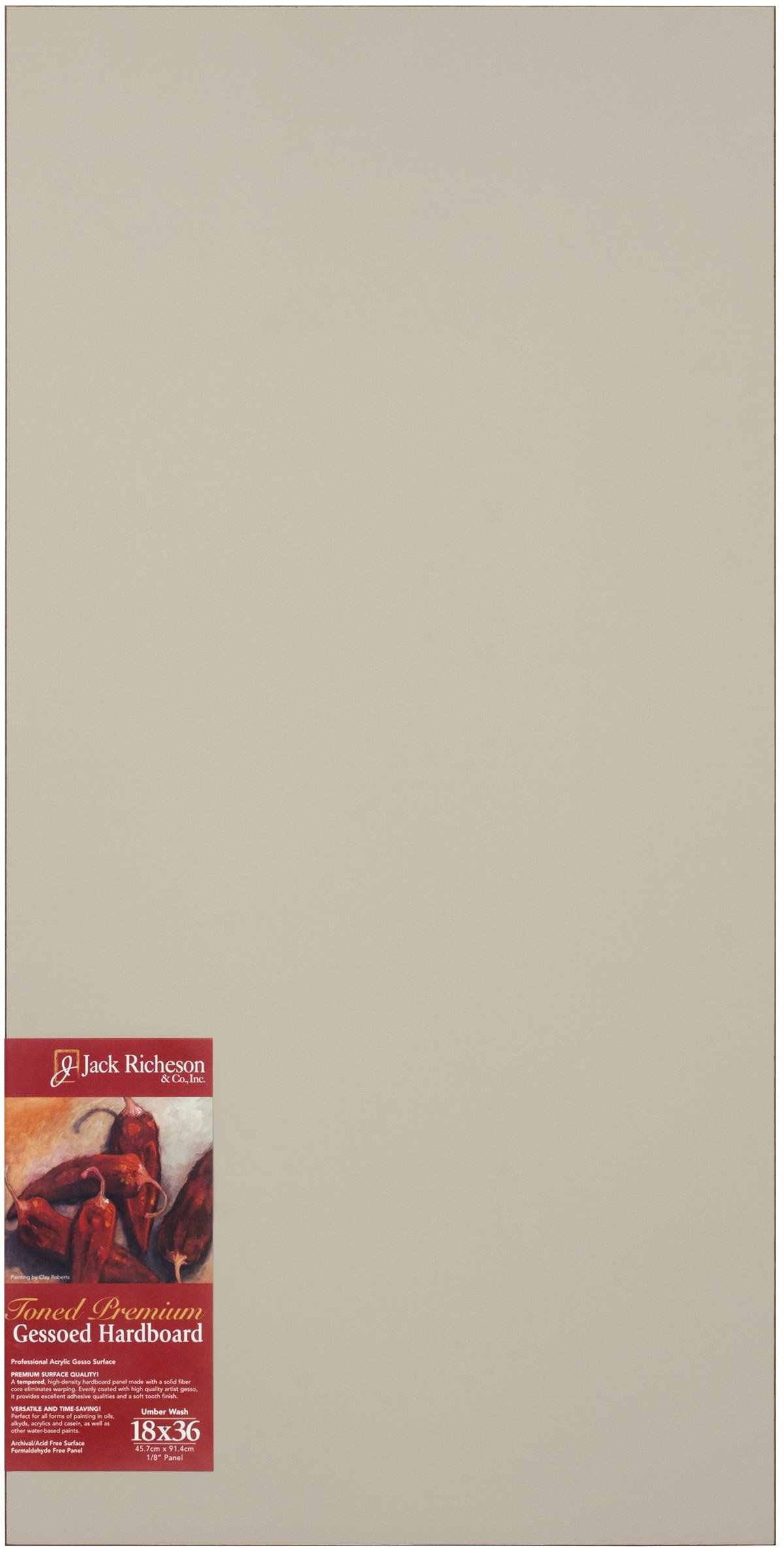 Jack Richeson Richeson Umber Wash Toned Gessoed 1/8'' Hardboard 18''x36'' by Jack Richeson