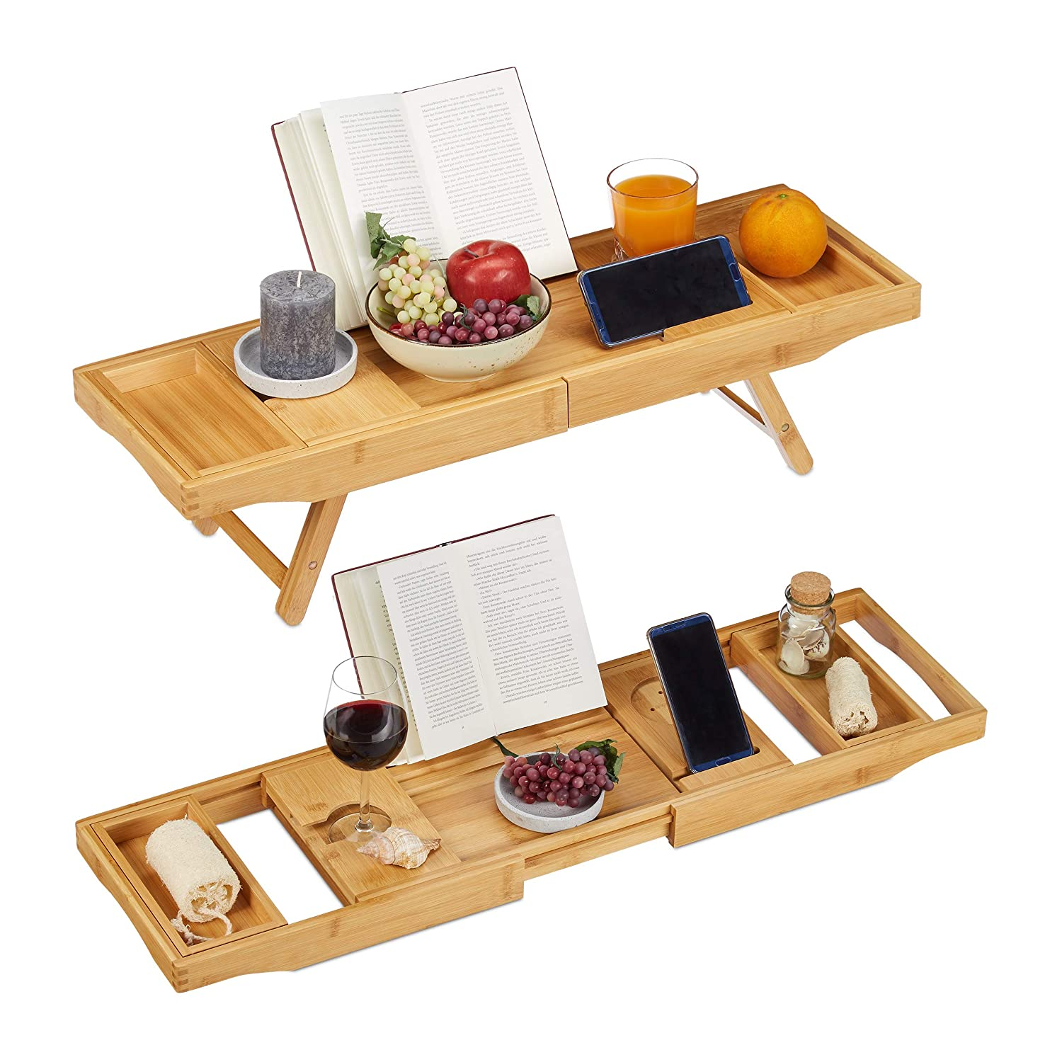 Natural Relaxdays 2in1 Bamboo Bathtub Caddy /& Serving Tray Wine Holder 18 x 114 x 25 cm Bathroom Stand H x B x T: ca Extendible 74.5-114 cm Bookstand