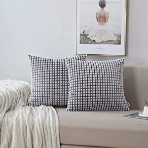 NordECO HOME Pack of 2 Comfy Throw Pillow Covers Cases for Couch Sofa Bed Decoration Comfortable Supersoft Corduroy Corn Striped Both Sides, Corn Black Grey