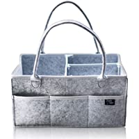Baby Diaper Caddy Organizer by Simply Upper-Large Storage Portable Nursery Holder Bag Grey-Boy and Girl Gender Neutral-for Changing Table and Car Travel-Newborn Baby Shower Registry Gifts