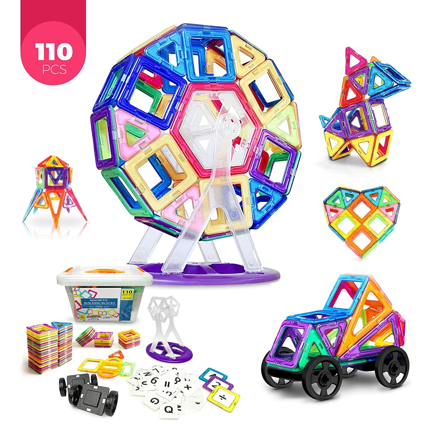 Magnetic Building Blocks Educational Learning Toys Deluxe 110 pcs Construction Tiles Toys Set for Children Toddlers Girls Boys Helps Best Gifts for Kids