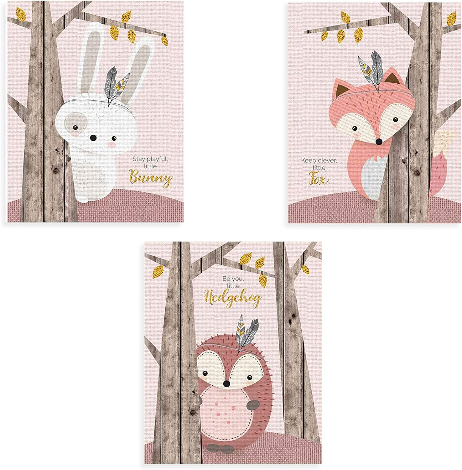 """Inspirational Wall Art for Baby Boys Room, Nursery Wall Decor for Girls, Woodland Baby Shower Decorations, Stuffed Animal Posters for Kids Bedroom?Set of 3 (8""""X10""""), No Frame?"""