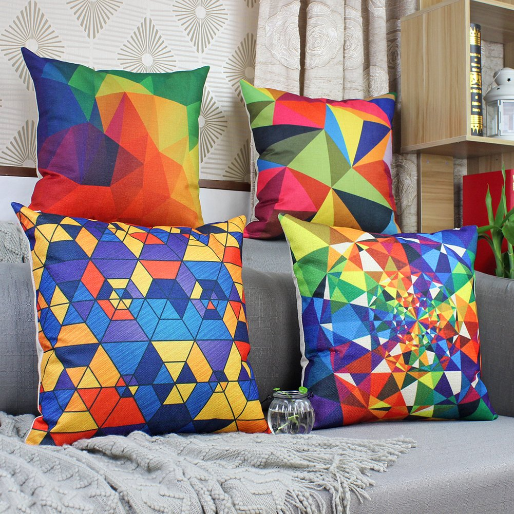 Colorful Geometry Decorative Throw Pillow Covers Cotton Linen Square Cushion Covers Geometry Pillow Cases Outdoor Couch Sofa Home Pillow Covers 18x18 Inch Chende A square