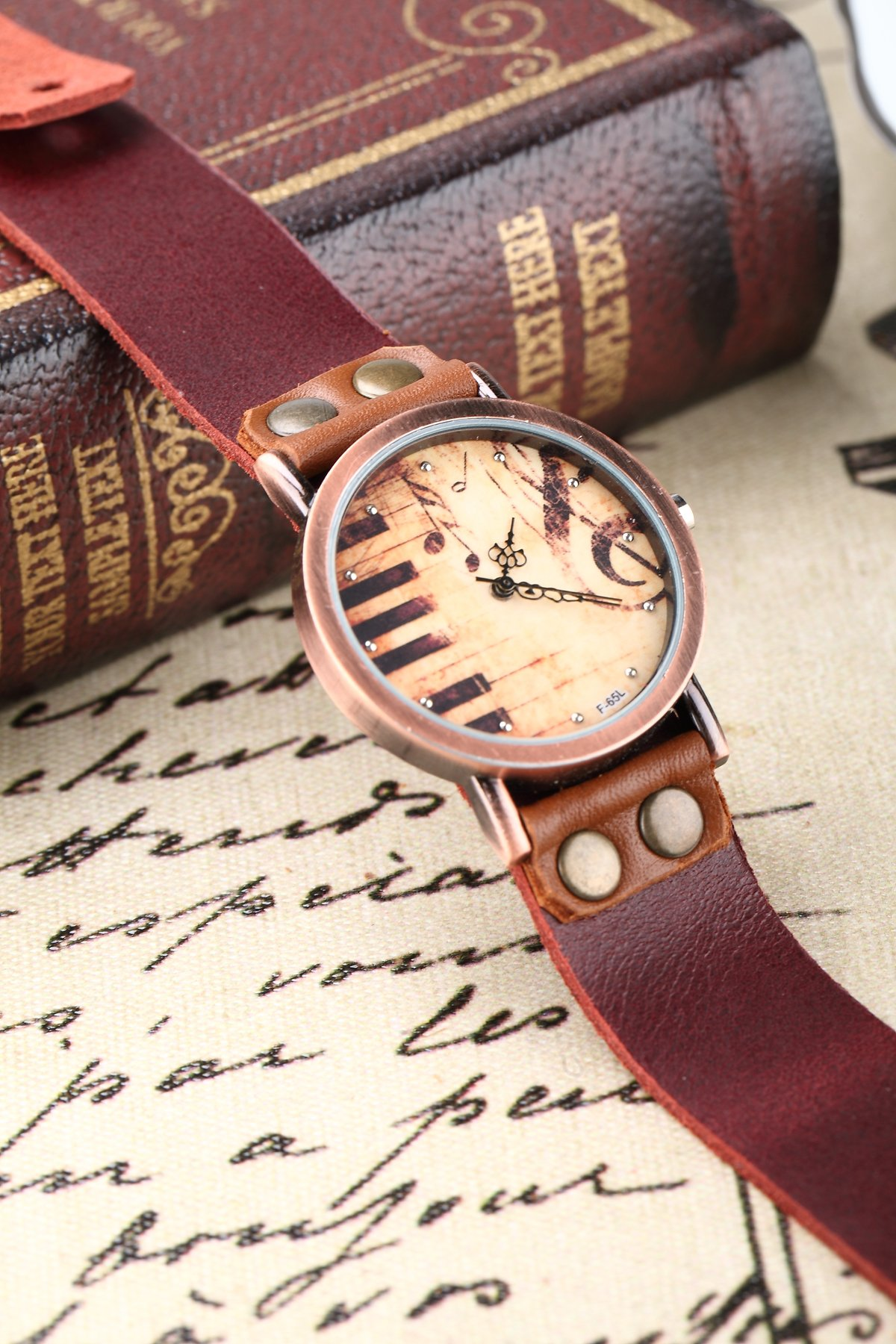 Men's Women's Vintage Piano Music Watch Brown Genuine Leather Band