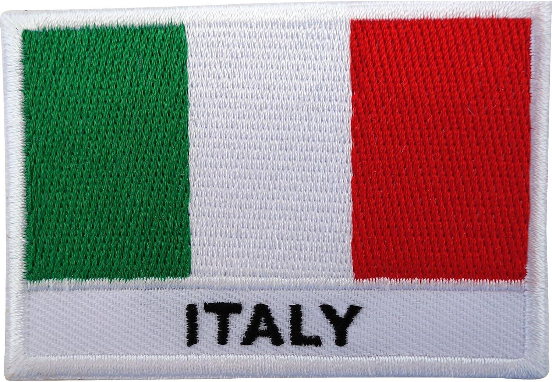 Parche bordado de bandera de Italia, para coser o planchar: Amazon ...