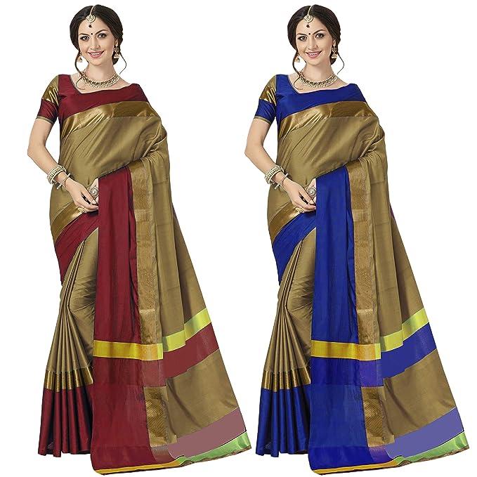 03cec024b5276 Anni Designer Cotton Saree with Blouse Piece (Ashi Combo Chiku-Red   Chiku-