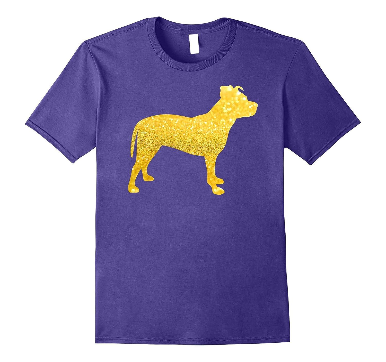 AMERICAN PIT BULL TERRIER Glitter T-Shirt, DOG Gold Glitter-Art