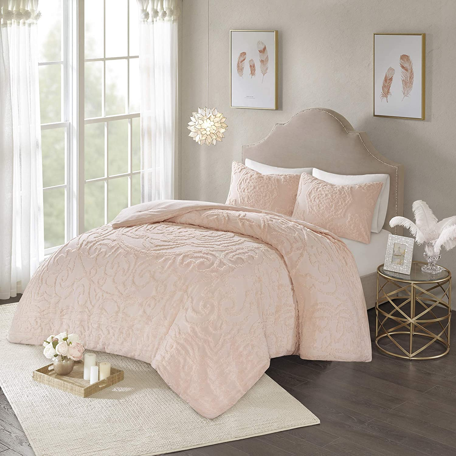 Madison Park Laetitia Comforter Reversible Cotton Chenille Flower Floral Botanical Medallion Tufted Fringe Soft Overfilled Down Alternative Hypoallergenic All Season Bedding-Set, Queen, Blush