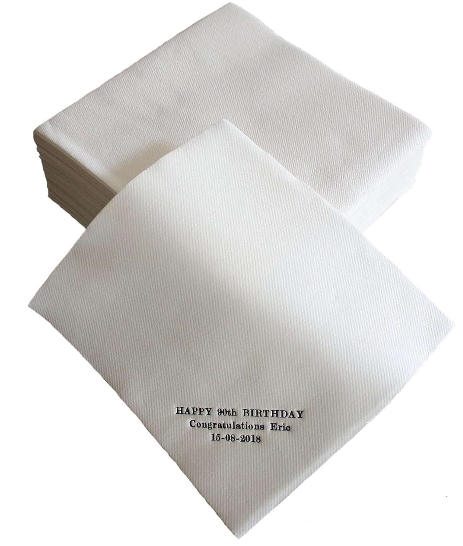 50 Luxury Linen Feel Paper Napkins 40 x 40 CM, White, Customised Onaroll Supplies Ltd
